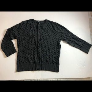 Cable & Gage gray with black polka dots cardigan